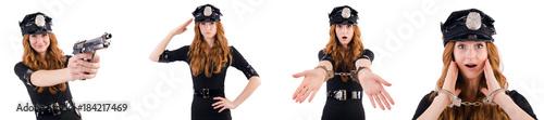 Obraz na plátně Redhead police officer isolated on white