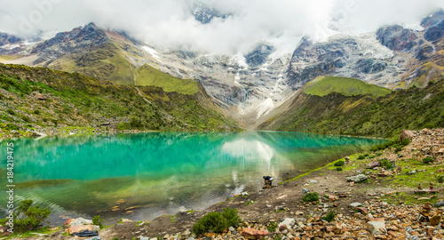 Spoed Foto op Canvas Zuid-Amerika land Humantay lake in Peru on Salcantay mountain in the Andes