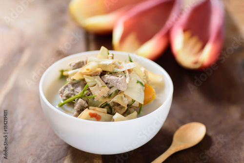 Thai food (Kaeng Hua Plee), spicy banana flower soup with pork in a bowl Wallpaper Mural