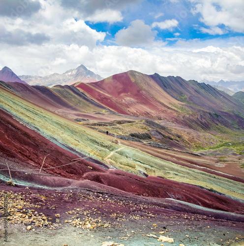 Fotobehang Zuid-Amerika land Hiking trail on Rainbow mountain in Peru