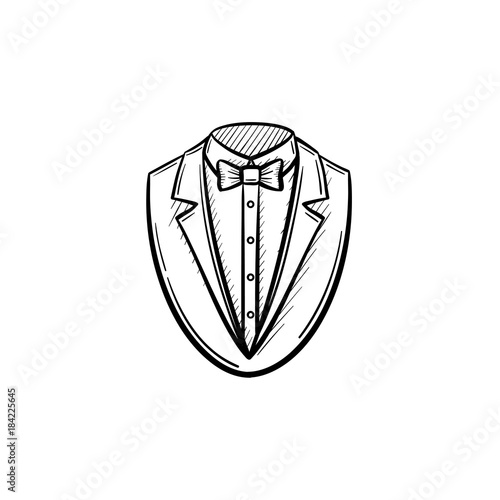 vector hand drawn smoking suit outline doodle icon smoking suit Suits Cast vector hand drawn smoking suit outline doodle icon smoking suit sketch illustration for print