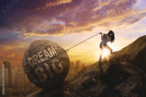 Fototapeta Female entrepreneur dragging text of dream big obraz
