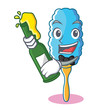 With beer feather duster character cartoon