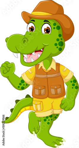 funny crocodile cartoon standing with dancing and laughing