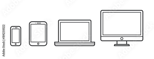 Obraz Device Infographic Icons: Smartphone, Tablet, Laptop, Desktop Computer - fototapety do salonu