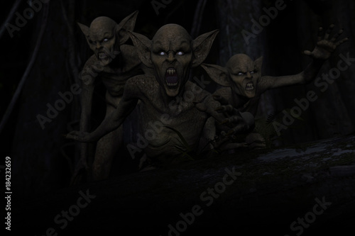 3d illustration of Scary monster out from the dark forest Slika na platnu