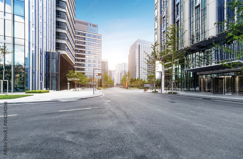 Fototapety, obrazy: empty highway with cityscape and skyline of qingdao,China.