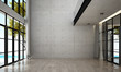 Leinwanddruck Bild - The interior design of empty lounge and living room and concrete wall background and sea view