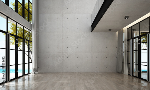 Fototapeta The interior design of empty lounge and living room and concrete wall background and sea view obraz