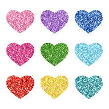 Cute Glitter Texture Hearts Se...