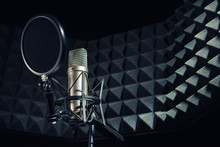Modern Professional Microphone In Recording Studio