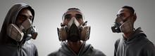 Set Of Graffiti Artist Wearing A Gas Mask