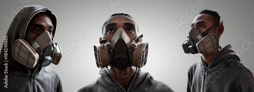 obraz dibond Set of graffiti artist wearing a gas mask