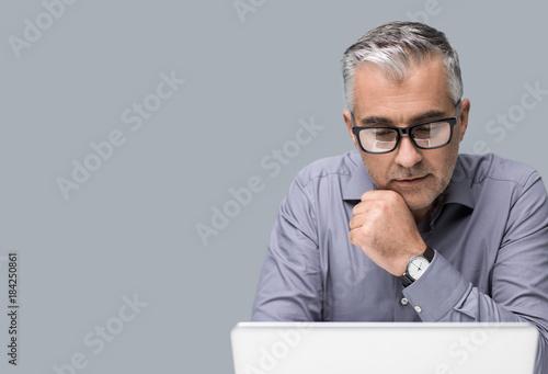 Fototapeta Businessman working with a laptop