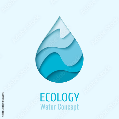 Vászonkép Water drop Ecology logo design template