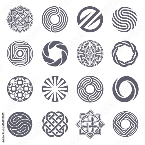 Photo  Set of vector logo design. Circle logo