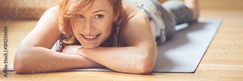 Smiling woman after physical activity