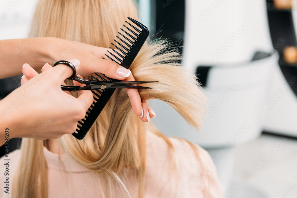 Fototapeta cropped image of hairdresser trimming ends of blonde hair