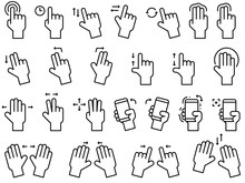 Hand Gestures Line Icon Set Fo...