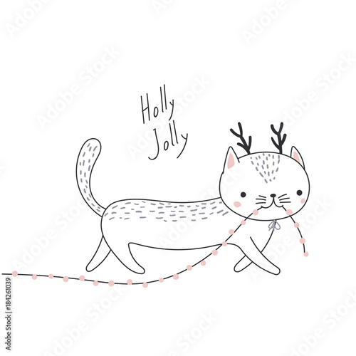 Hand Drawn Card With Cute Funny Cat With Deer Antlers