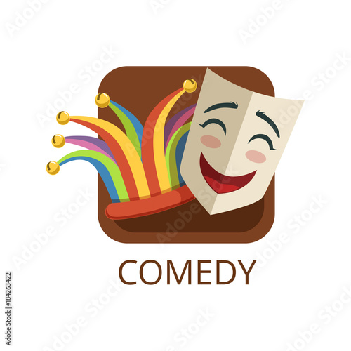 Photo Comedy cinema or theatre genre, cinematography, movie production vector Illustra