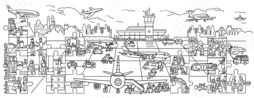Coloring - a large poster. Airport. Poster. Coloring Large. Website, Banner, Book, Drawing, Selling, Transport, Aircraft, Airport, Aerodrome, image, Strip, Takeoff, Puzzles, Room, Steward, Stewardess,