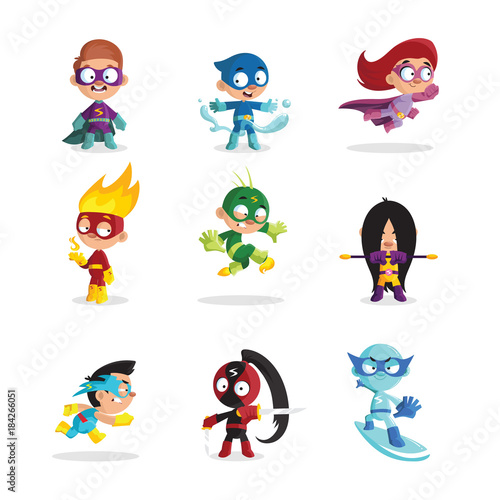 Kids in colorful superhero costumes set, funny boys and girls characters cartoon vector Illustrations