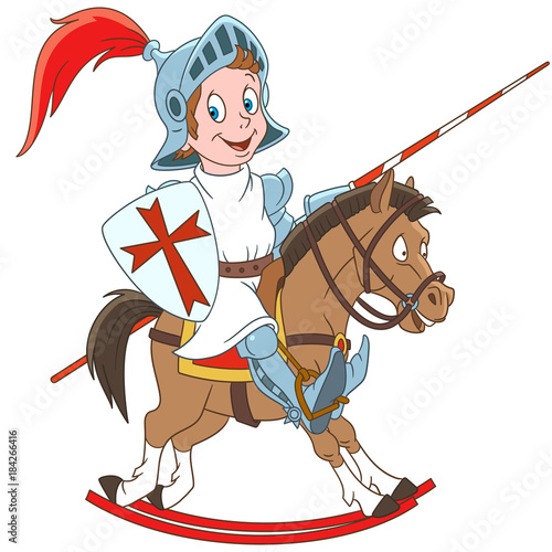 Fotobehang Superheroes Cartoon medieval knight riding a horse. Design for children's coloring book.