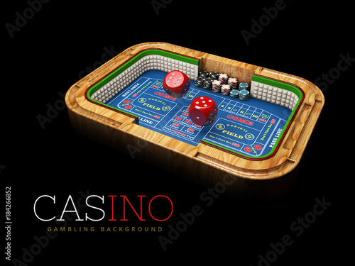 Casino dice table with red Dices. Casino Games, 3D Illustration плакат