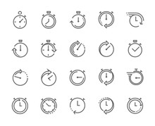 Stop Watch Symbol, Fast Time Icon, Express And Urgent Services. Editable Stroke.