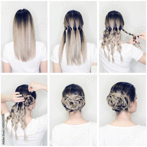 Fotografie, Obraz  Elegant hairstyle rose bun step by step