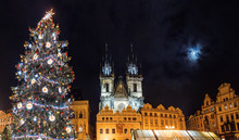 Christmas Tree At Night On The Old Town Square, Prague, Czech Republic