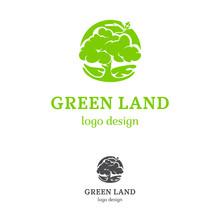 Green Land Logo Template. Full...