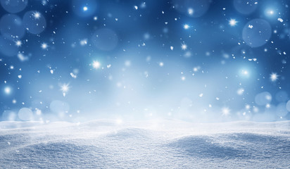 Empty, snowy winter, christmas background with copy space