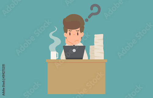 Businessman stick figure in thinking posture Fototapeta