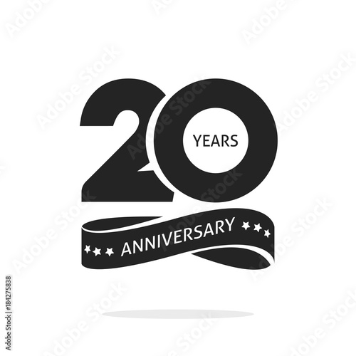 Fotografía  20 years anniversary logo template isolated on white, black and white stamp 20th