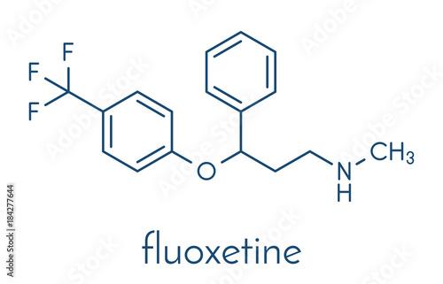 Fluoxetine antidepressant drug (SSRI class) molecule. Skeletal formula.