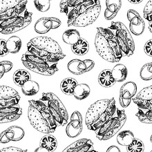 Vector Hand Drawn Seamless Pattern Of Burgers, Tomato And Onion. Hand Drawn Set Of Fast Food. Vintage Engraved Illustration. Isolated On White. For Restaurant, Menu, Street Food, Bakery, Cafe, Flyer