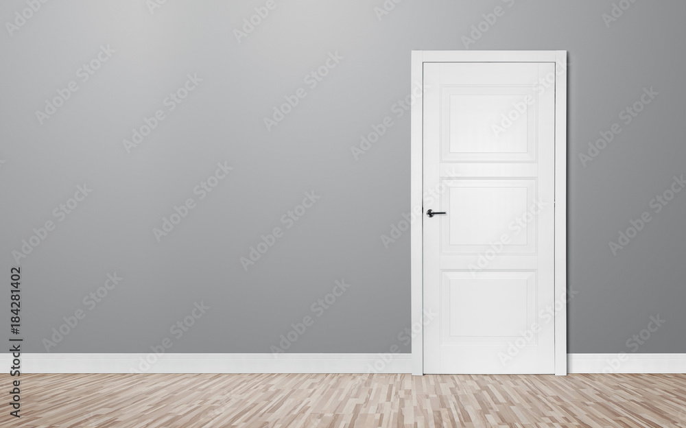 Fototapety, obrazy: Close up of closed wooden door in the empty room with copy space