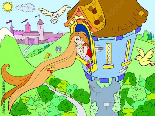 Princess Rapunzel in the stone tower for children cartoon vector illustration Wallpaper Mural