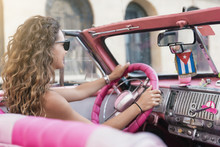 Beautiful Woman Tourist Drivin...