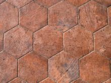 Old Terracotta Floor Tiles, Hexagonal.