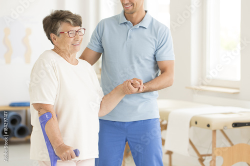 Disabled elderly woman after injury