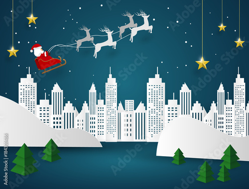merry christmas and happy new year background santa claus on the sky coming to city