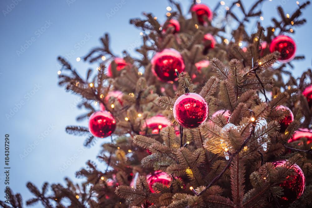 Rote Christbaumkugeln.Photo Art Print Rote Christbaumkugeln Auf Christbaum