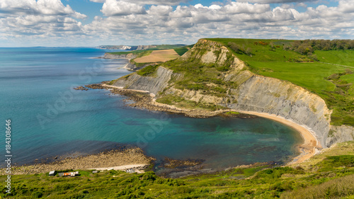 View from the South West Coast Path over Chapman's Pool, near Worth Matravers, J Canvas Print