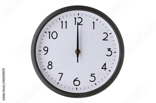 Photo Round office wall clock on white, midnight or midday