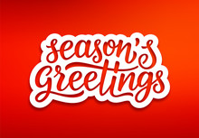 Seasons Greetings Text On White Paper Label With Carving Over Red Background. Modern Calligraphy Lettering On Sticker For Season Greetings. Vector Background