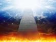Leinwandbild Motiv Heaven and hell, staircase to heaven, light of hope from blue skies