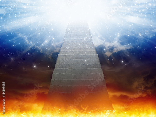Valokuva Heaven and hell, staircase to heaven, light of hope from blue skies